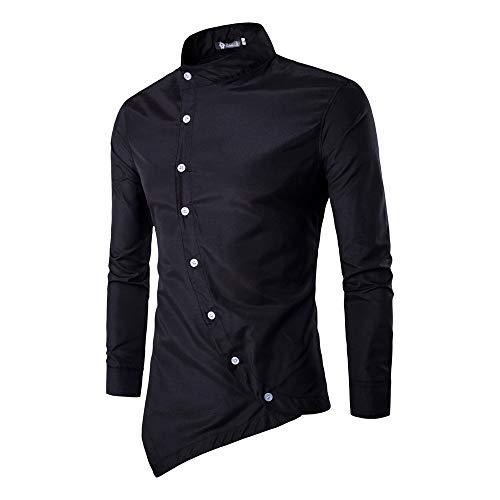 Cebbay Liquidación Camisa de Manga Larga para Hombres Inclinación de la Puerta en Cuclillas Irregular Cuello Delgado diseño Superior Camisa Camiseta(Negro, EU Size M = Tag L)