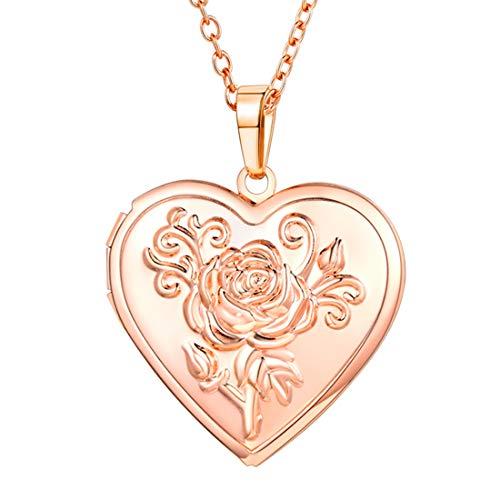 U7 Damen Collier Rosegold Vergoldet Herz Medaillon zum Öffnen Photo Bilder Amulett Blume Herz Anhänger Halskette Herzanhänger Valentinstag Geburtstag Geschenk für Mädchen Freundin