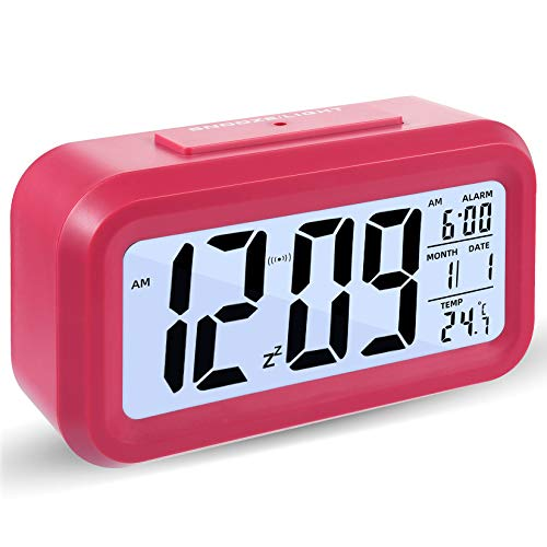 Reloj Despertador Digital, Luz Nocturna con Repetición De Pantalla Led, Reloj Despertador Junto a La Cama con Calendario De Tiempo Y Temperatura, para El Dormitorio De La Oficina En Casa (Rosa)