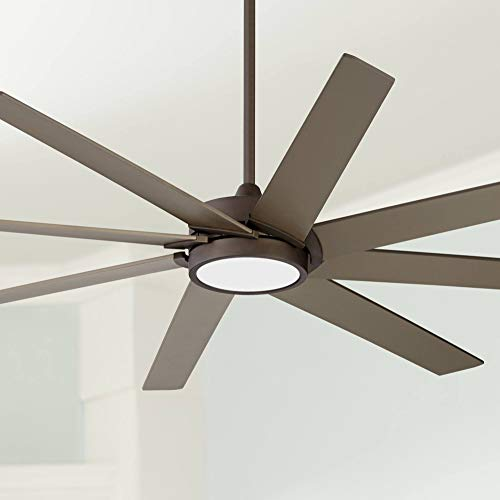 """65"""" Destination Modern Contemporary Ceiling Fan with Light LED Remote Control Dimmable Oil Rubbed Bronze White Glass House Bedroom Living Room Home Kitchen Family Dining Office - Possini Euro Design"""