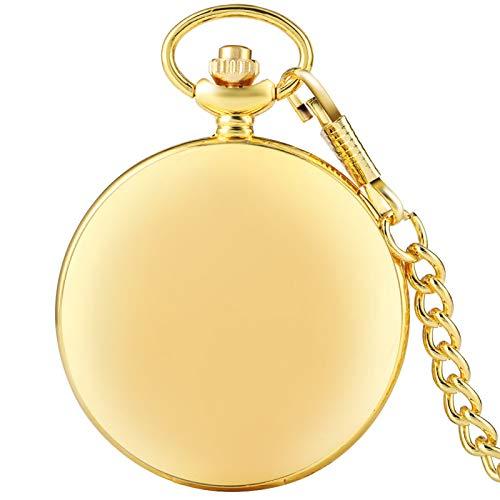 ZHAOXIANGXIANG Reloj De Bolsillo Retro,Moda Clásico Dorado Brillante Retro Antiguo Reloj De Bolsillo Movimiento De Cuarzo Reloj De Bolsillo Grande Hombres Mujeres Colgante Cadena Regalo