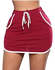 GAGA Womens Elastic Waist Casual Multi-Pockets Side Stripe Stretchy Mini Skirt