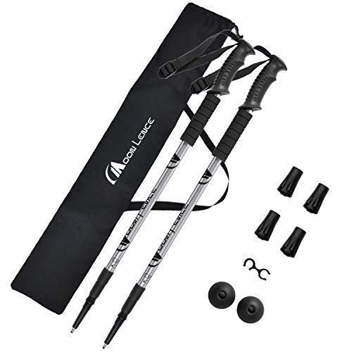 Moon Lence Ultralight Compact Trekking Poles with 3 Levels Telescoping Aluminum 2 Piece Set with Anti-Shock Function for Walking Hiking Climbing with Storage Bag & Accessories