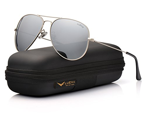 LUENX Uomo occhiali da sole Aviatore Polarizzate di guida con il caso - Protezione UV 400 Argento Telaio Argento Lenti 60 mm