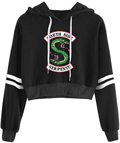 OLIPHEE Sudaderas con Capucha Retro Primavera con capuchacon con Logo de Valle de Riverdale para Mujer 5758heiM-1
