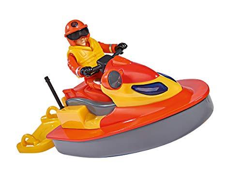 Simba 109251048 - Feuerwehrmann Sam Juno Jet Ski / mit Elvis Figur / Sitzfläche zum Aufklappen / schwimmt auf dem Wasser, für Kinder ab 3 Jahren
