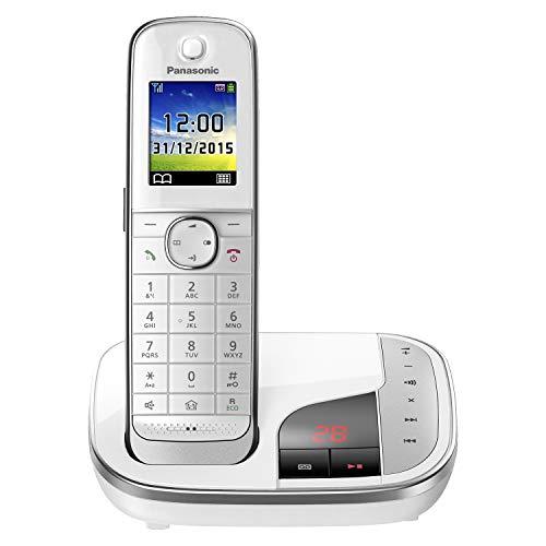 Panasonic KX-TGJ320GW Familien-Telefon mit Anrufbeantworter (schnurloses Telefon, strahlungsarm, Anrufschutz, DECT Basisstation, Freisprechen) weiß