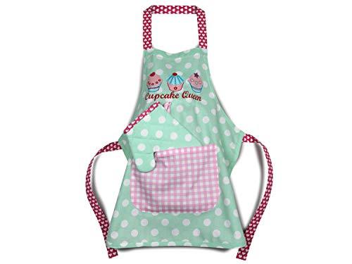 Emily´s Check Kochmütze oder Küchenset für Kinder 468.549, Küchenschürze & Topfhandschuh 3-6 Jahre, Cupcake Queen