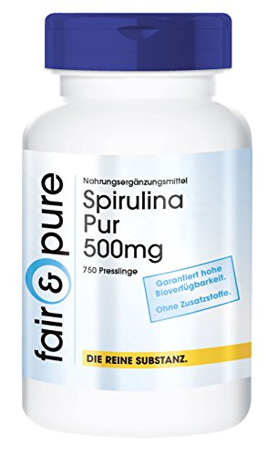 Spirulina platensis 500mg - Polvo prensado de alga Espirulina - Vegana -...