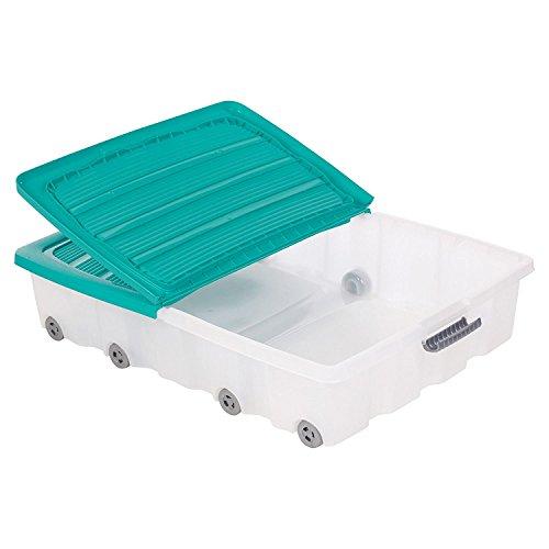Set de 2 cajas de almacenamiento para debajo de la cama, hechas de plástico, con ruedas y tapa, plástico, azul, Large (70L)