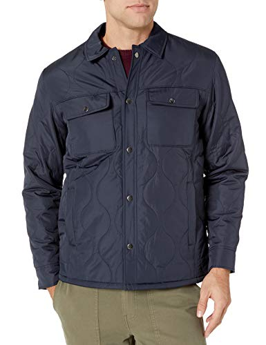 Amazon Essentials Men's Quilted Shirt Jacket, Navy, Medium