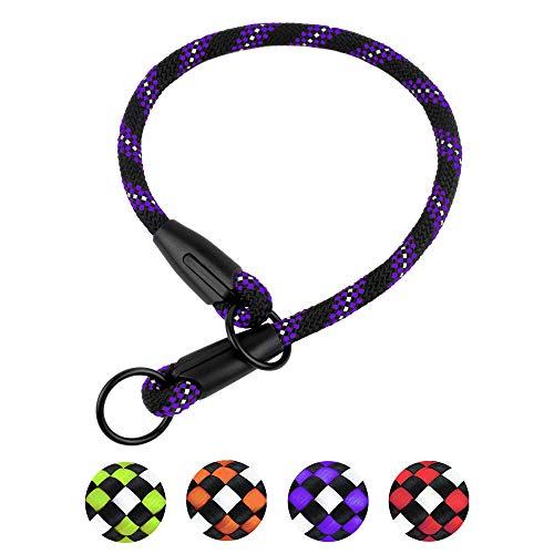 BRONZEDOG Rope Dog Collar Slip Choke Reflective Pet Collars for Small Medium Large Dogs Purple Orange Green (XS, Purple)
