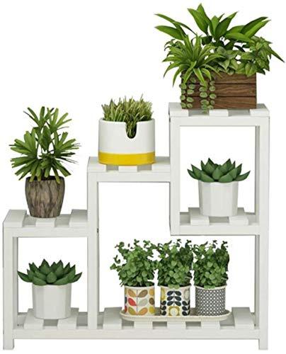 LF- Flower Stand desktop-bloemen-massief hout woonkamer vensterbank meerlagige Mini Flower Stand witte plank standaard sterk en robuust