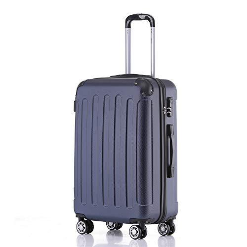 Handgepäck Koffer Hartschalen Trolley Rollkoffer Reisekoffer Mit Schloss Und 4 Rollen Leichtgewicht ABS Koffer Hartschale Für Reisen - Dunkelblau-L