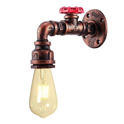 KAWELL Créatif Vintage Applique murale Conduite D'eau Lampe murale Industriel Rétro Lampe de Mur Fer Métal E27 60 W Max pour Restaurant, Café, Bar, Cuisine, Chambre à coucher, Rouille Couleur