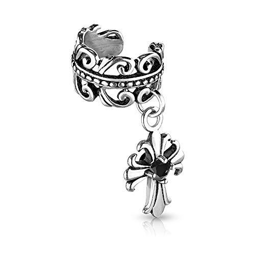 Dynamique Celtic Heart with Black CZ Centered Fleur De Lis Cross Dangle Non-Piercing Ear Cuff (Sold Per Piece)