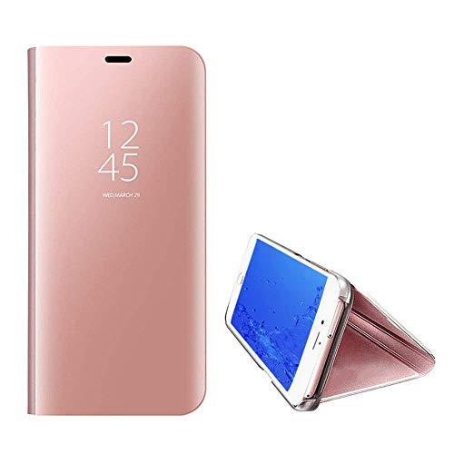 Yobby Luxe Coque Miroir pour iPhone 7,Coque iPhone 8 Placage La Technologie Intelligent Vue Fenêtre Supporter PC Flip Cover Svelte Protecteur Housse Etui-Or Rose