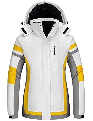 Wantdo Women's Winter Coat Snowboarding Jacket Waterproof Windproof Ski Raincoat White L