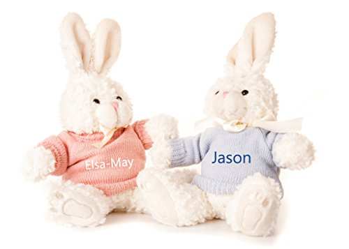 Hoolaroo Personalised Embroidered Bunny Rabbit Soft Toy with Jumper PINK