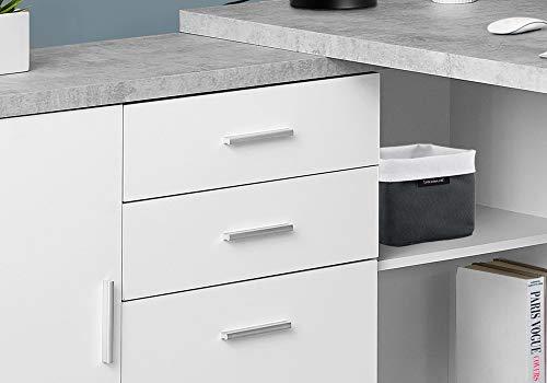 "Monarch Specialties Computer Desk - 60""L White / Cement-Look Left/Right Face"