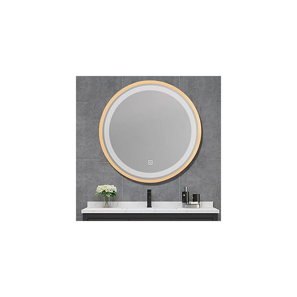 Miroir de Salle de Bain LED,Miroir Lumineux,Mirroir Rond,Miroir Lumineux, Cosmétique, de Maquillage,Un Elément Décoratif…