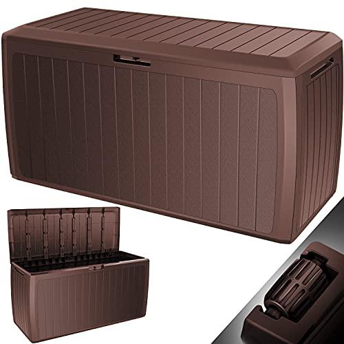 KESSER® Auflagenbox 290 Liter Mit Rollen Griffe 100 kg belastbar Smart Click System Truhe Gartenbox Kissenbox Braun