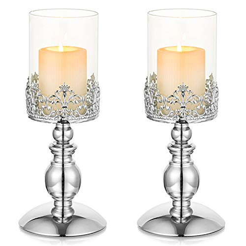 Nuptio 2 Pcs Silver Candle Holders for Pillar Candles, Hurricane Glass Candle Holder Home Room Decor Gifts, 26cm Tall Candle Centerpieces for Tables Wedding Anniversary Housewarming Christmas Party