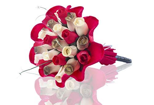 Rosenstrauß aus Holz, symbolisiert Einheit und Liebe für jeden Anlass Rot, Weiß und bräunlich