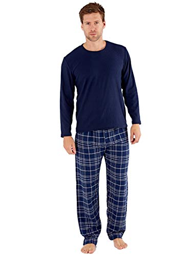 Herren Geschenkpaket Pyjamas Fleece Top Check Flanellhosen Navy/Grau-XXL