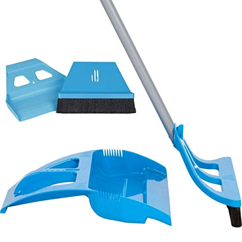 WISP Cleaning Set - One Handed Telescoping Broom with Electrostatic Bristle Technology and Self Sealing Foot Operated Dustpan & Bonus Whisk Hand Brush and Mini Dust Pan (Blue)