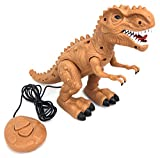 Walking Dinosaur T-Rex with Realistic Sounds, Wired Fossil Remote Control, 8 inches Tall - Brown / Orange