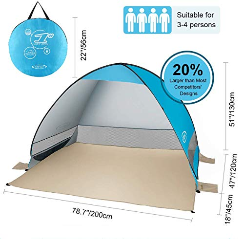 G4Free Bijgewerkte pop-up tent, 2-3 personen, UPF 50+ UV-bescherming, zonbescherming, obdak, camping, wandelen, vissen, picknick, strand, zomer, automatische tent Cabana