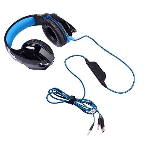 Mvlike 3.5mm Wired Headset, Grote oorkappen 50MM Diameter Speaker Desktop Computer Game Muziek Subwoofer Met Microfoon Hoofdtelefoon, Standard, Zwart Blauw