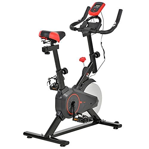 HOMCOM Bicicleta Estática con Pantalla LCD Volante de Inercia de 6kg Sillín y Manillar Ajustables en Altura y Resistencia Regulable 85x46x114 cm Negro y Rojo