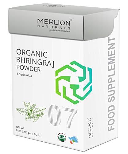 Organic Bhringraj Powder by Merlion Naturals   Eclipta alba   USDA NOP Certified 100% Organic (8 OZ)