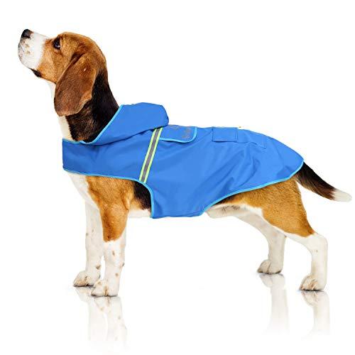 Bella & Balu Impermeabile Cane - Cappotto impermeabile per cani con cappuccio e catarifrangenti per protezione dal freddo, pioggia e neve in inverno e in vacanza. (M| Blu)