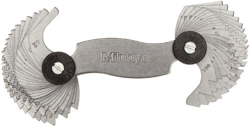 Mitutoyo 188-151, Screw Pitch Gage, 4 - 42 TPI and 0.4 - 7mm, 51 Leaves, Inch/Metric