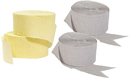 Light Yellow and Gray Crepe Paper Streamers (2 Rolls Each Color), 290 FEET Total, MADE IN USA!