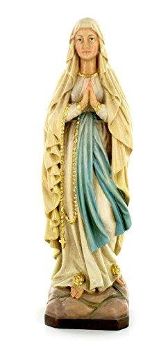 Ferrari & Arrighetti Imagen de la Virgen de Lourdes en Madera de Arce Pintada a Mano - 25 cm