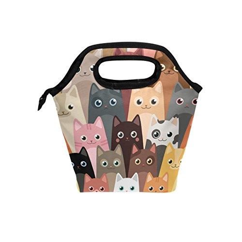 Bolsa de almuerzo para gatos de dibujos animados de JSTEL con bolsa para el almuerzo, contenedor de alimentos para Gourmet Bento Coole, bolsa térmica para viajes, picnic, escuela, oficina