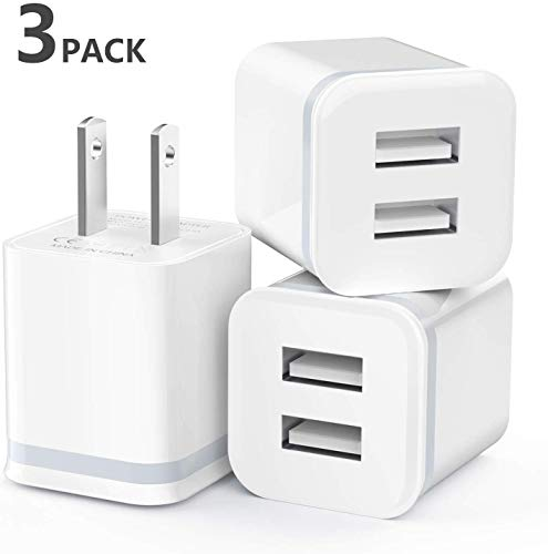 Samsung 4-Pack 2.1A Dual Port USB Cube Charger Plug Power Adapter Charging Block Compatible with iPhone Xs//XR//Xs Plus//X 8//7//6 Plus Moto IVELLTARE USB Wall Charger LG Android Phones More
