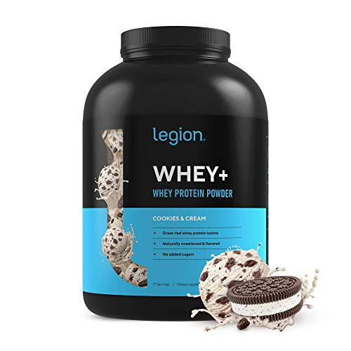 Legion Whey+ Whey Isolate Protein Powder from Grass Fed Cows - Low Carb, Low Calorie, Non-GMO, Lactose Free, Gluten Free, Sugar Free. Great for Weight Loss & Bodybuilding, 5 Pounds (Cookies & Cream)