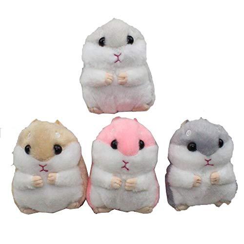 Women Hamster Keychain Plush Stuffed Animal Keychain Key Ring Keyrings Plush Toy Purse Handbag Bag Phone Pendant (Brown)