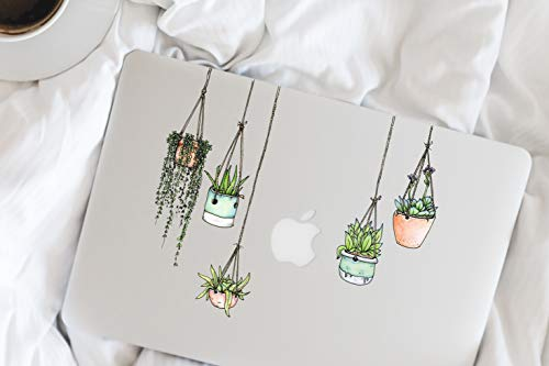 Stickers4 - Set of 5 Illustrated Hanging Plants/Potted Plant Stickers/Decals (Laptop/Fridge Sticker)