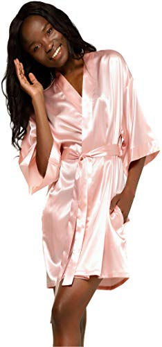 Women's Pure Color Satin Short Kimono Bridesmaids Lingerie Robes - Pink Small