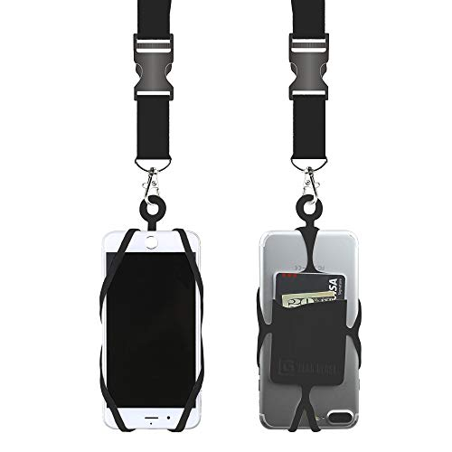 Gear Beast Universal Cell Phone Lanyard Compatible with iPhone, Galaxy & Most Smartphones Includes Phone Case Holder with Card Pocket,Soft Neck Strap with Breakaway Clasp & Detachable Convenience Cli