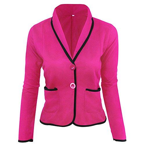 MRULIC Damen Kurzmantel Kurzer Anzug für Arbeitskleidung Klein Open Jacke Softshell(Hot pink,EU-32/CN-M)