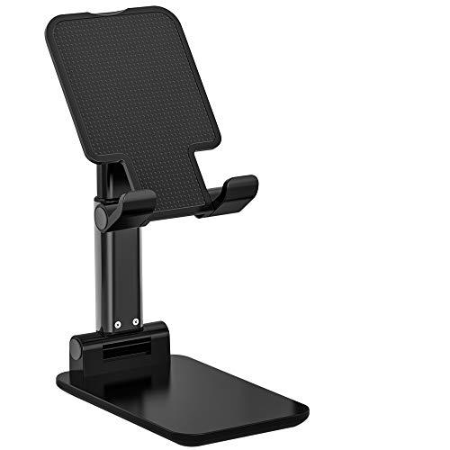 【2020改良モデル】AMOVO スタンド アーム型 スマホ・タブレット用 卓上スタンド スマホホルダー 折り畳み 高度・角度調節可 ケーブル差込可能 滑り止め 読書 在宅勤務 おうち時間 タブレットスタンド (黒)