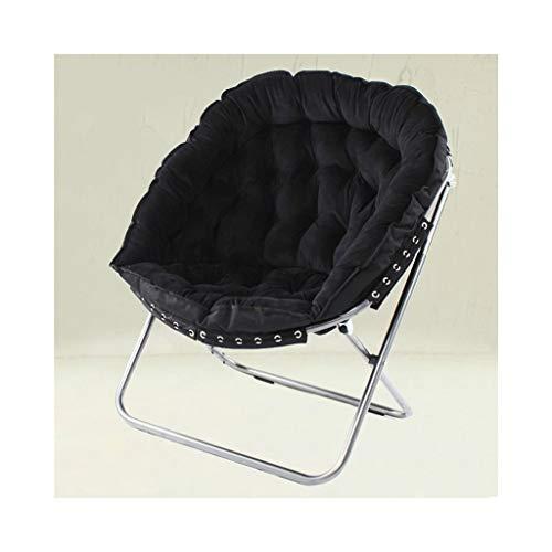 Chaise paresseuse, chaise longue, chaise de pause déjeuner, chaise de lune, chaise longue (Couleur : Black)