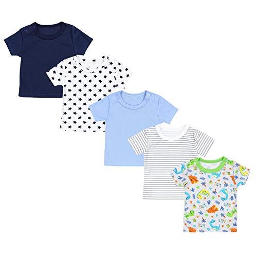 TupTam Baby Unisex Kurzarm T-Shirt Sterne Streifen 5er Set, Farbe: Mehrfarbig 2, Größe: 68